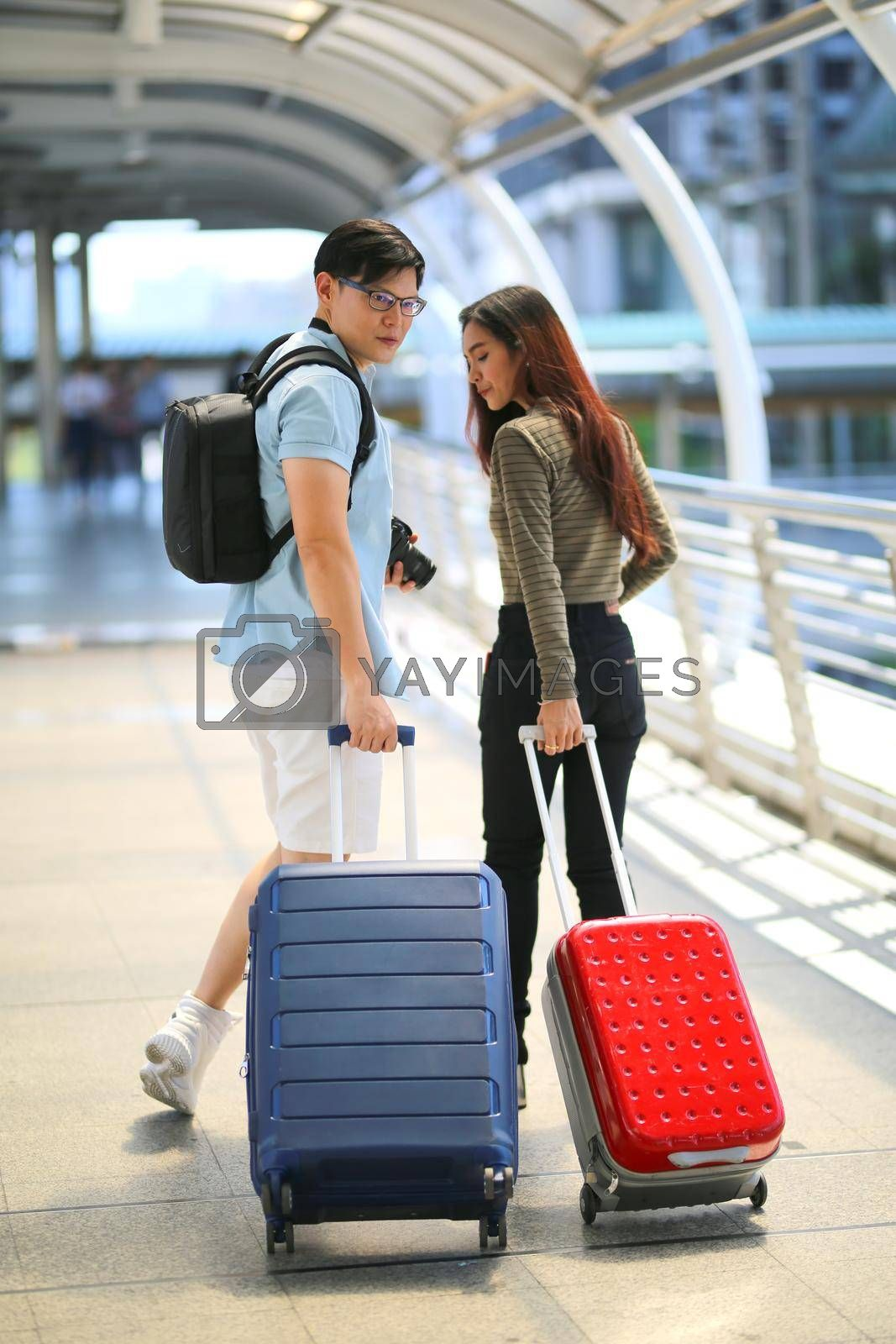 Couple love on summer vacation travel. Man and Woman walking on city romantic honeymoon, couple lover on travel concept.
