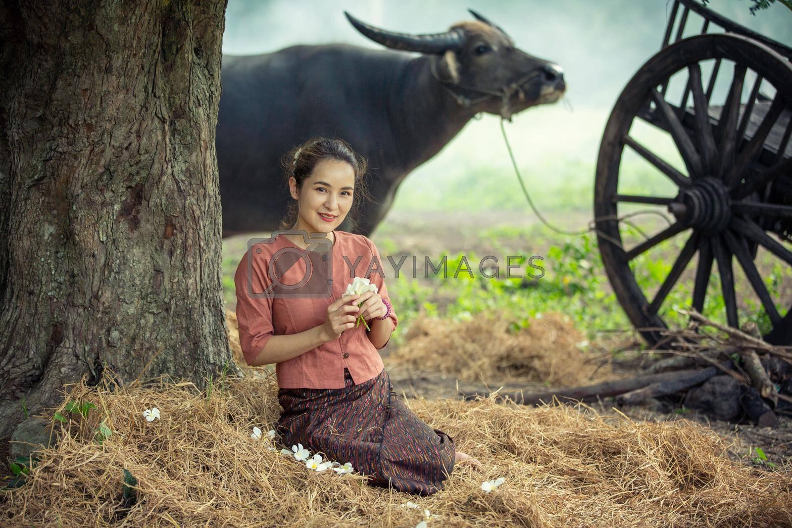 portrait of beautiful Asian woman and buffalo in field at farmland.