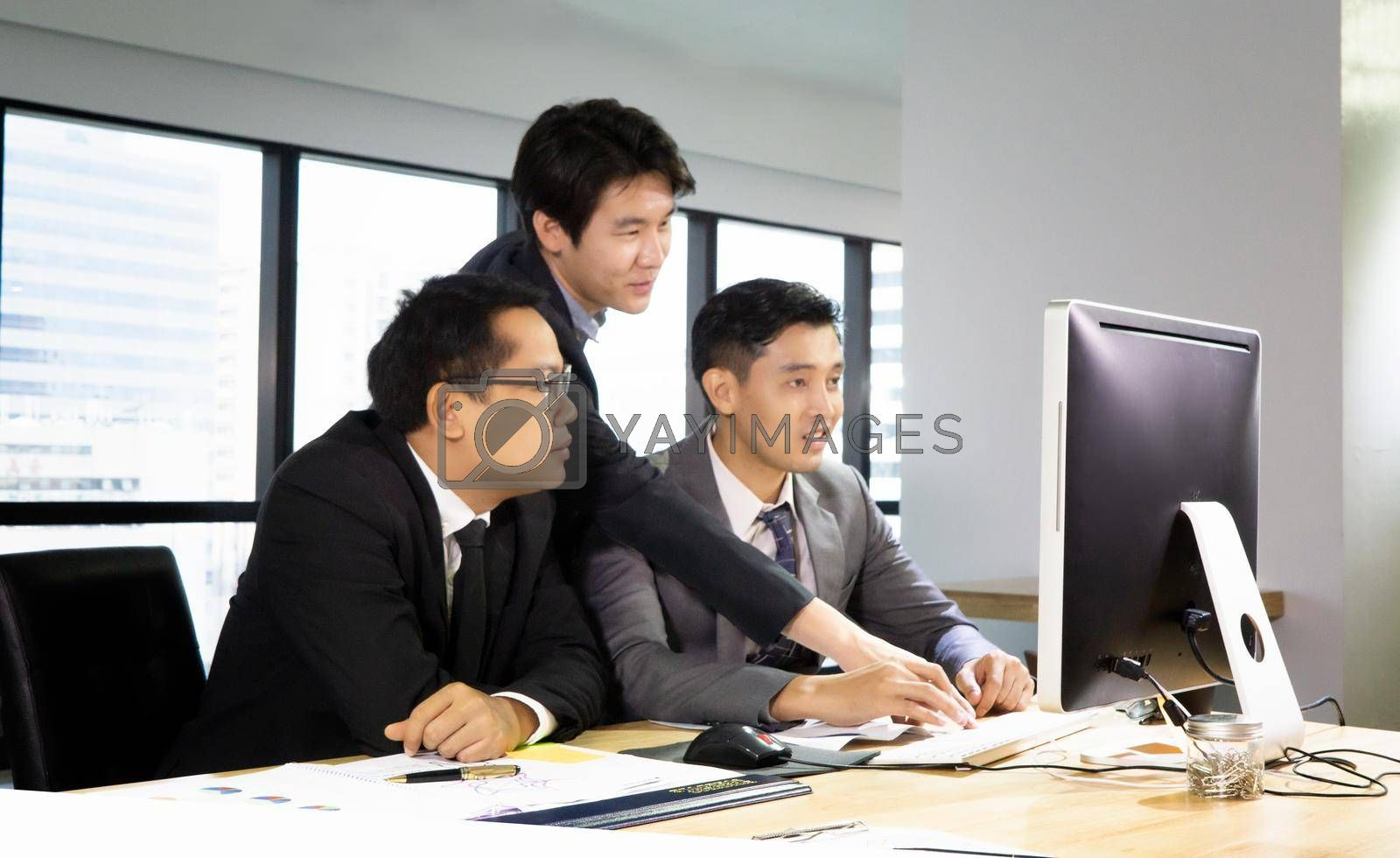 business people working on project at Modern Startup Office. Business People Meeting Discussion Working Concept, business people are meeting to analyze data for marketing plan