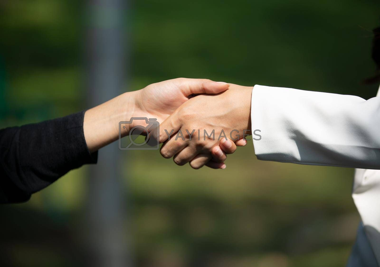 Business people shaking hands, finishing up a papers signing. Meeting, contract and lawyer consulting concept.