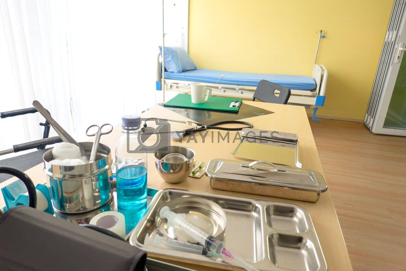Patient bed in hospital ward with no body