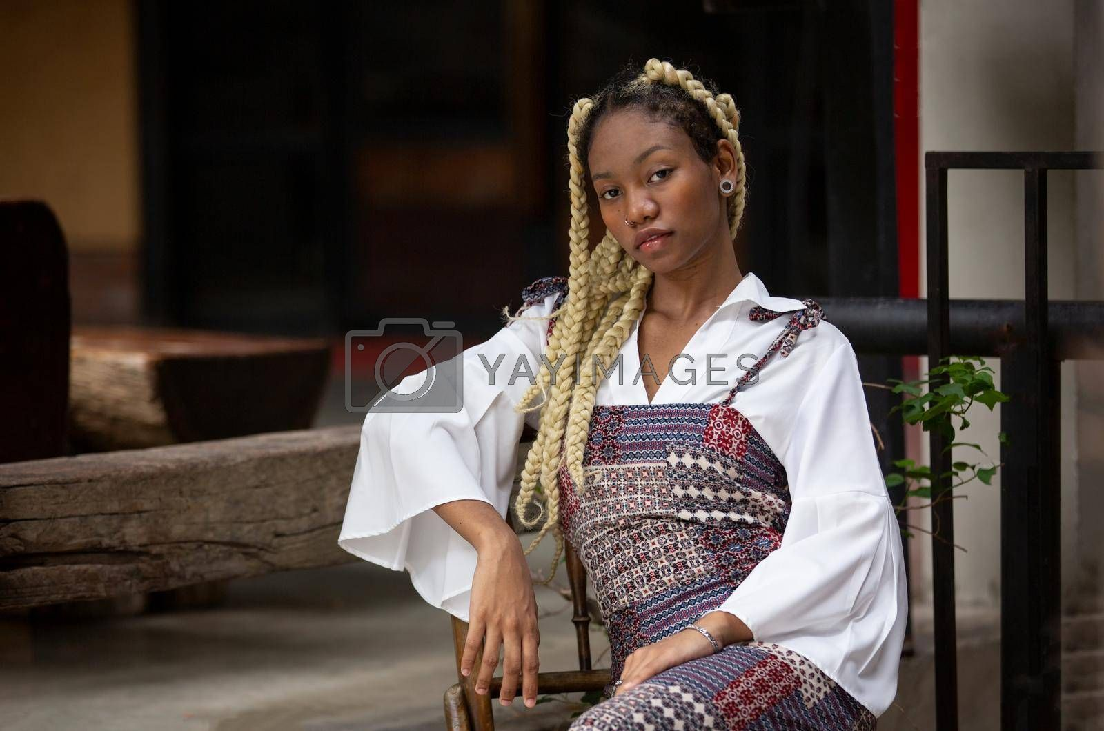 Outdoor Portrait Of African American Young Woman
