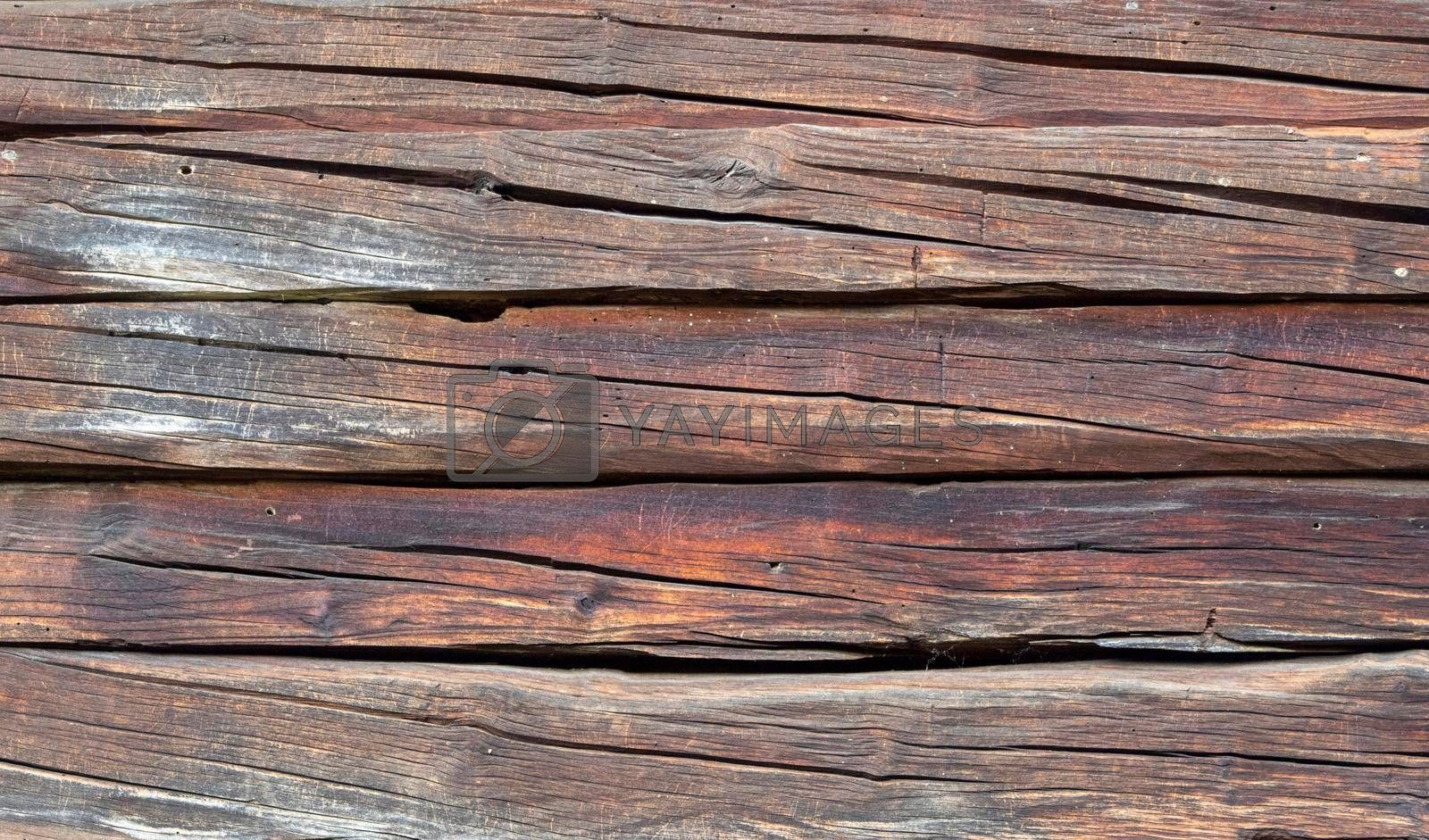 A bright wooden texture on a house