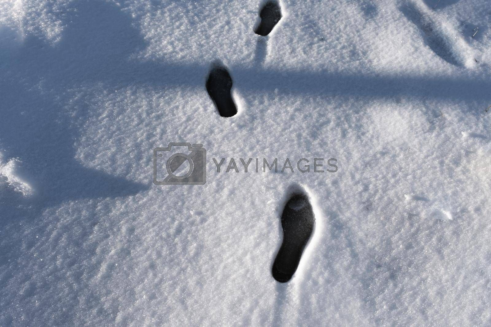 It depicts the human marks on the snow