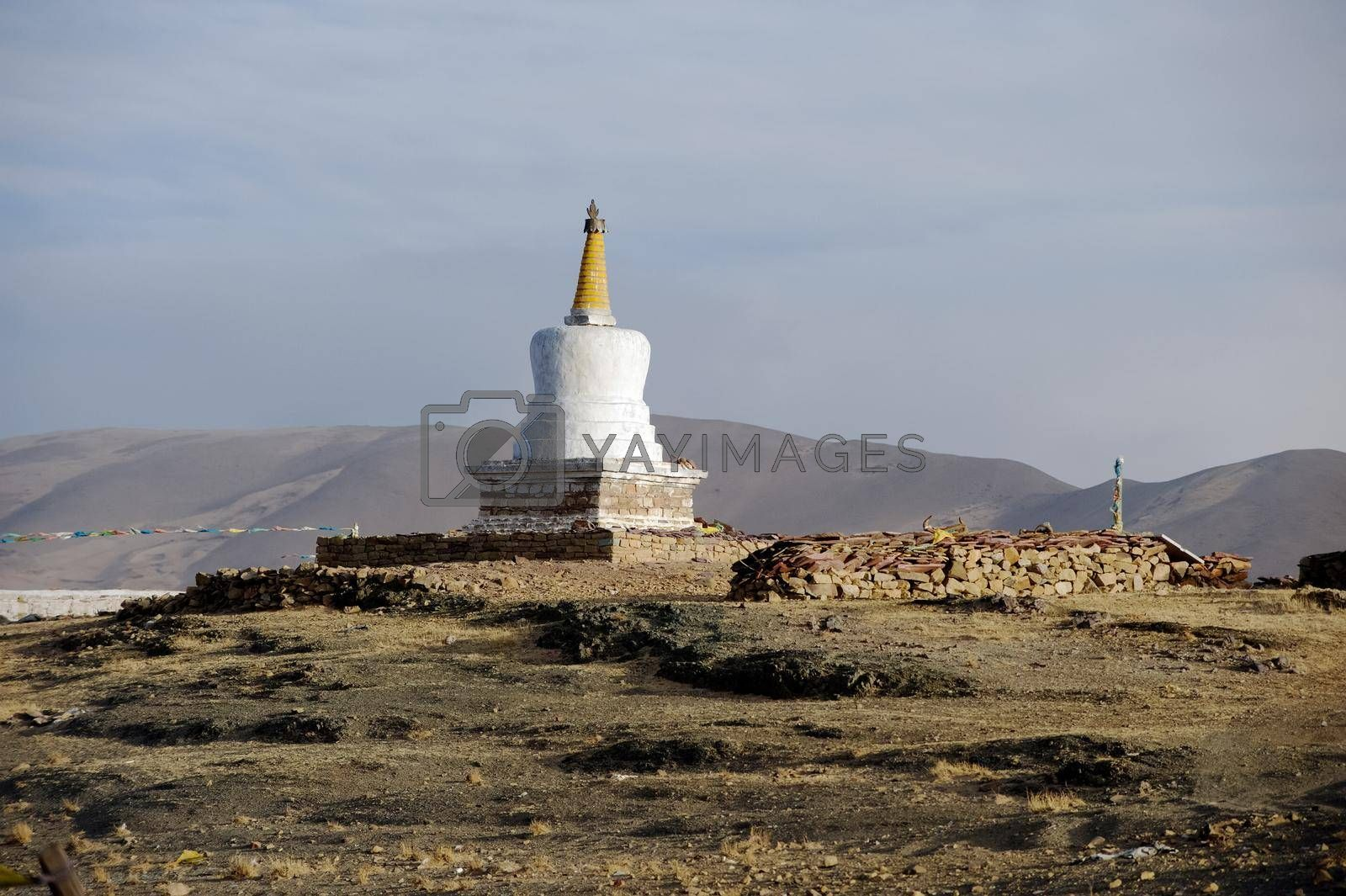 Buddhist religious buildings. Tibet, Himalayas. by DePo