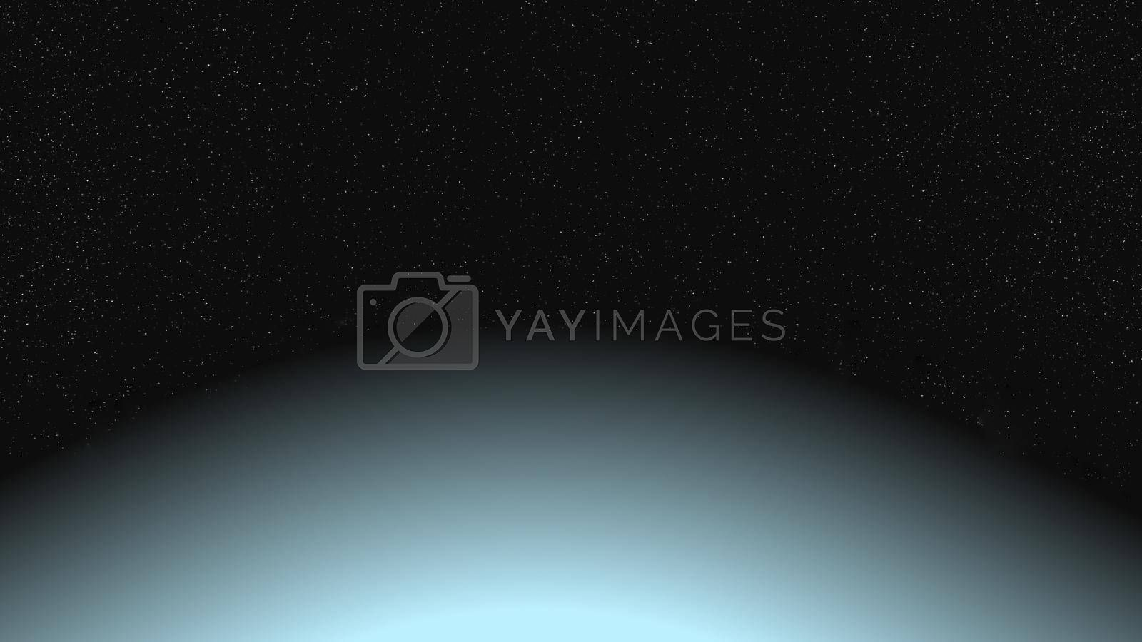 It depicts a digitally generated image of a planet and shining stars in the space