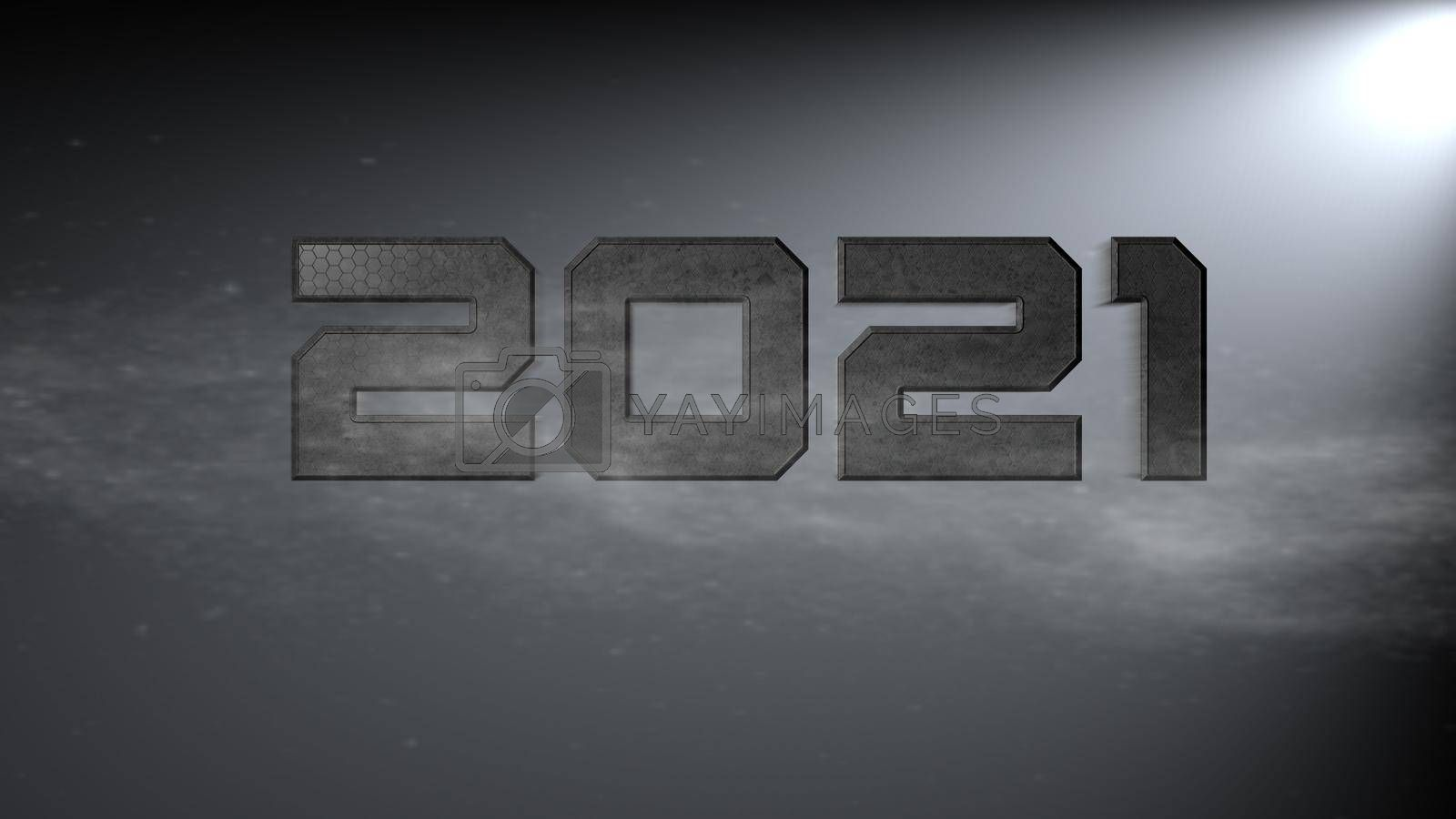 It depicts a digitally generated image of 2021 number on light gray background