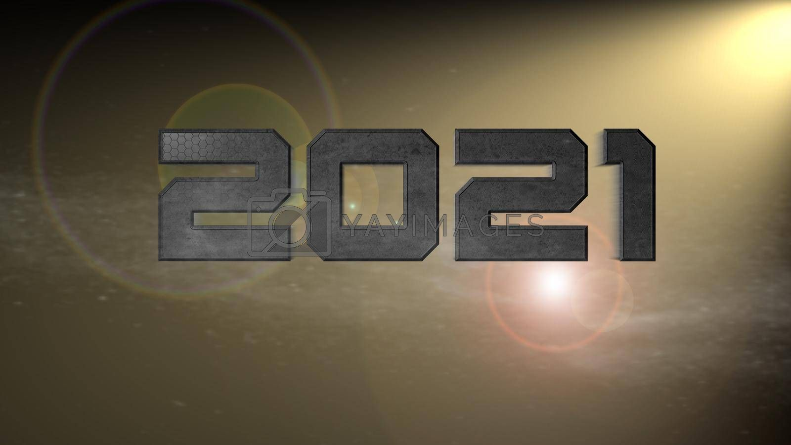 It depicts a digitally generated image of 2021 number on yellow background