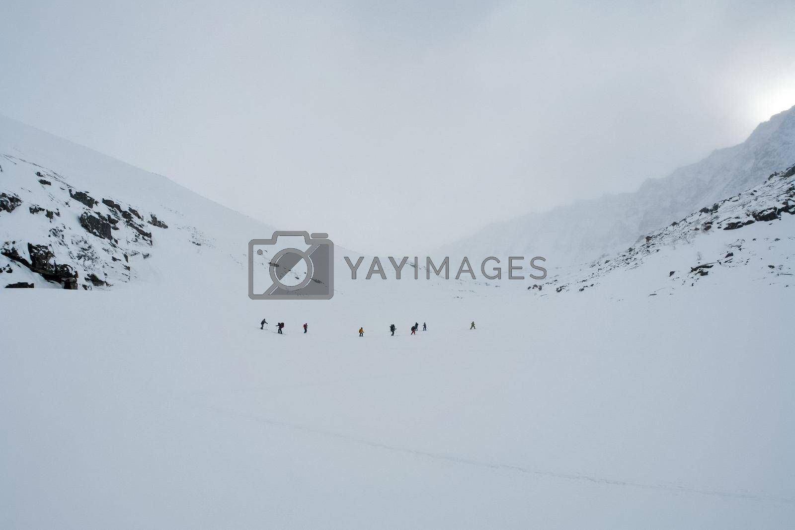 Tankhoy, Russia - January 20, 2019: Skiers ride in the snow in the mountains of Baikal