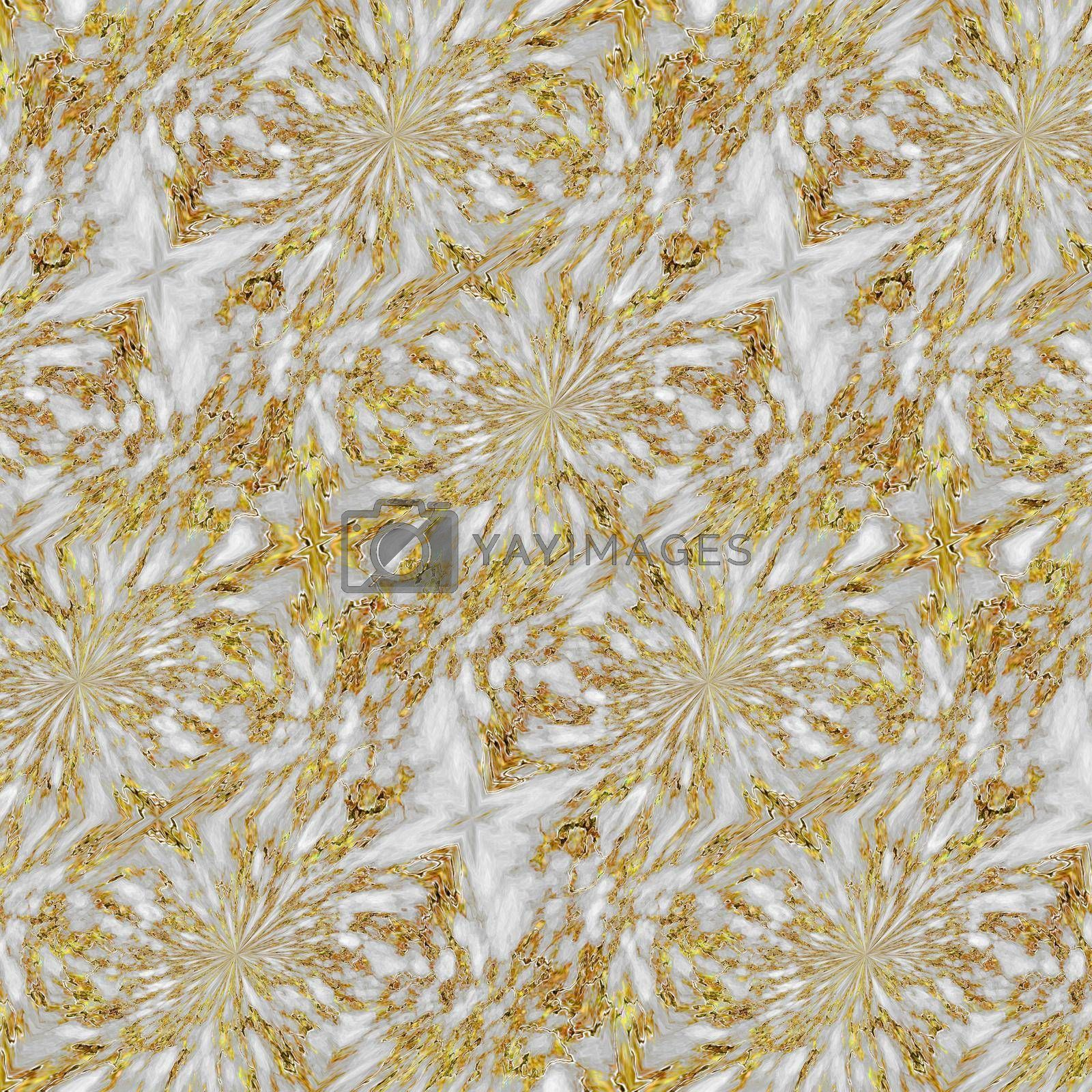 Amazing abstract marble background with flowers texture. Seamless pattern. Golden and white colours. Design for decor, prints, textile, furniture, cloth, digital.