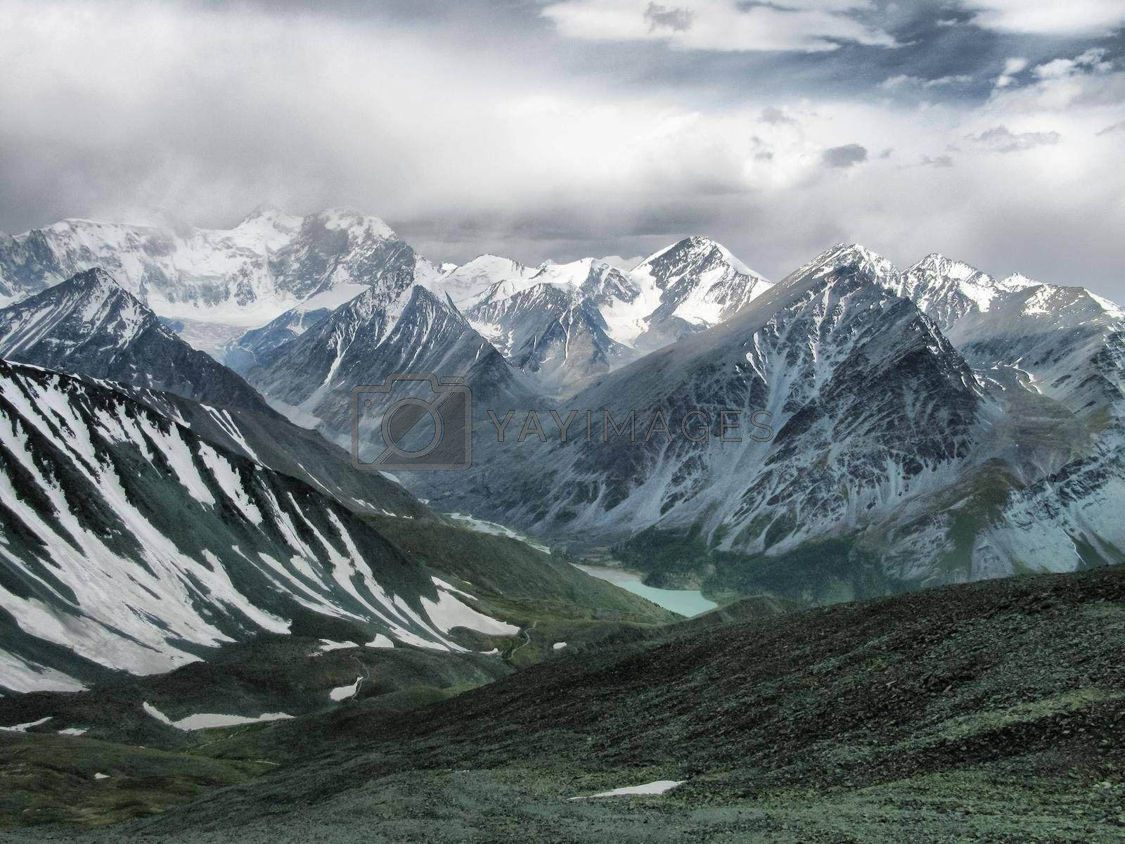 Altai Mountains, beautiful landscape of high altai mountains.