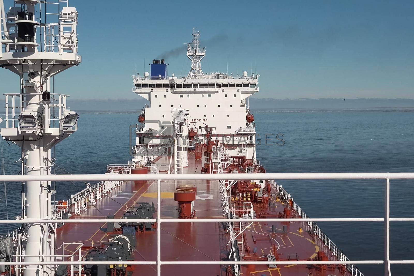 The tanker is filled with liquefied natural gas, transporting gas by sea.
