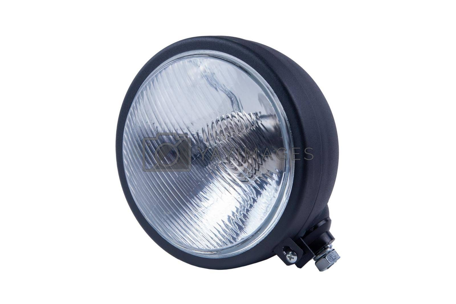 new High-beam headlight in a metal case on a white background