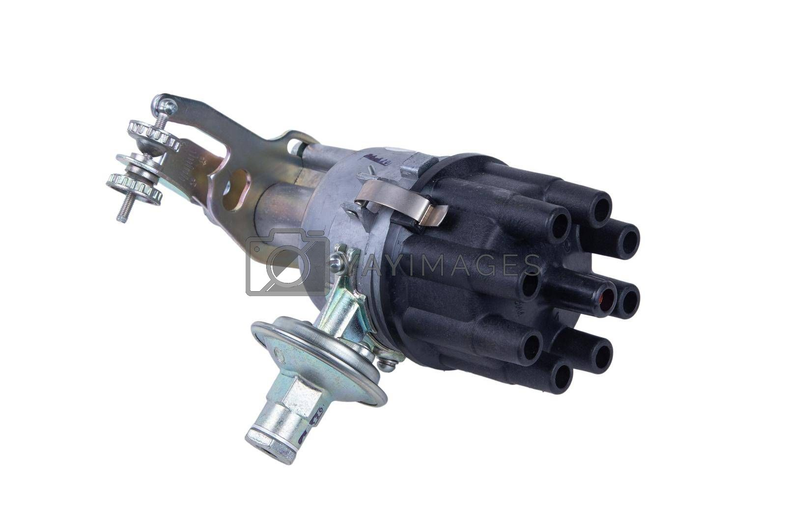 new truck ignition distributor on white background