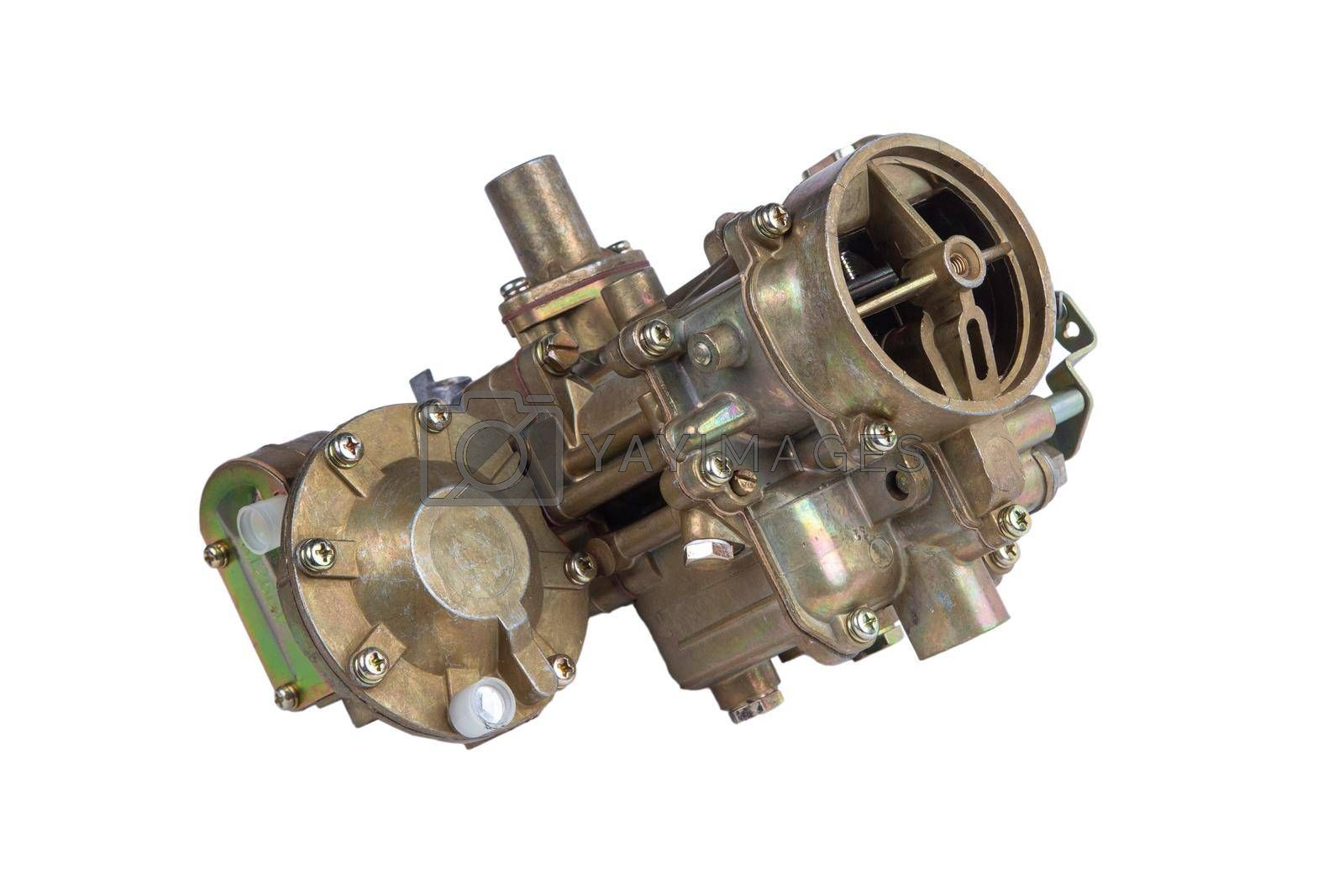 new carburetor of the internal combustion engine of the car isolated on white background by forester