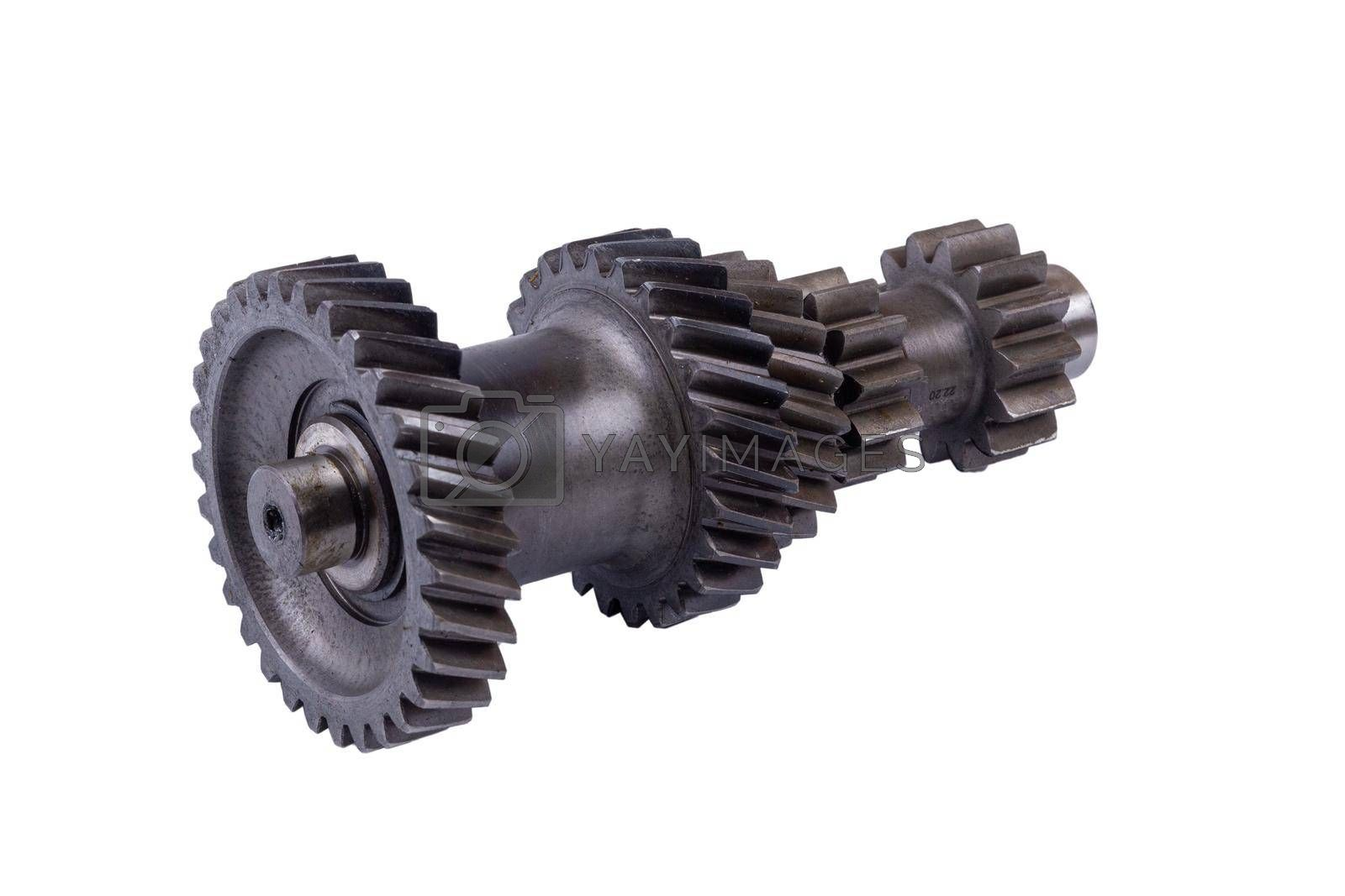 parts that have been stored in the warehouse for a long time. Transmission gears of the gearshift torque. Conceptually mechanical background. Shiny gear box teeth