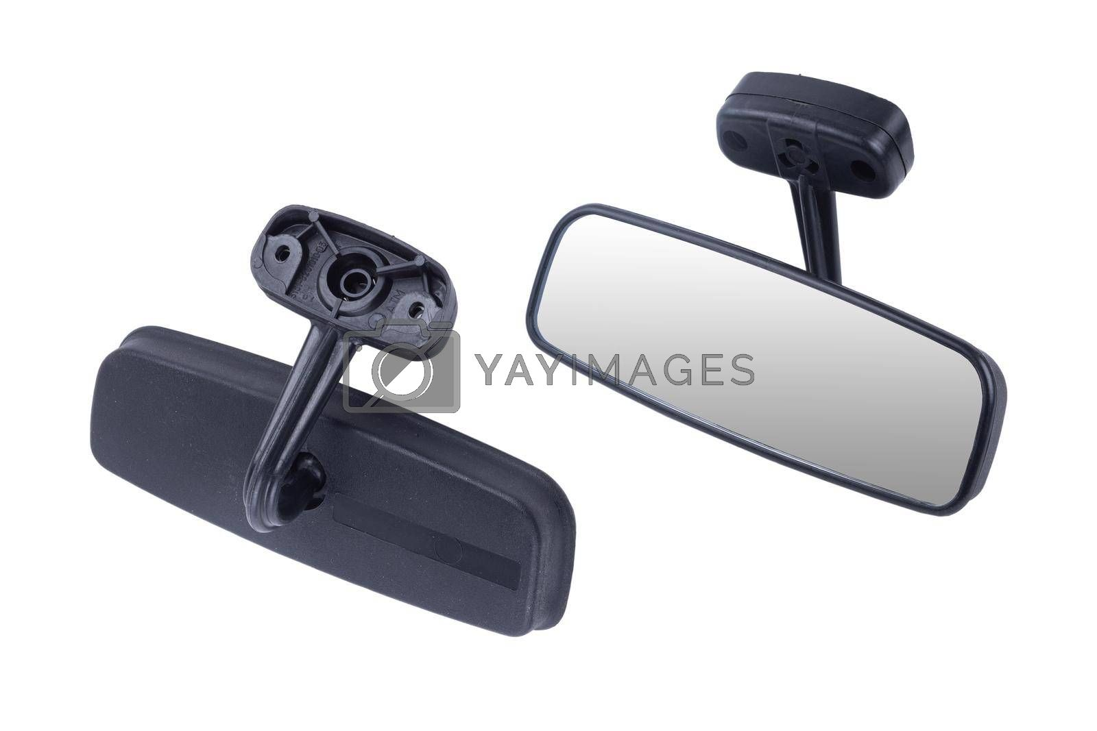 Car Mirror with Copy Space Isolated on White Background.
