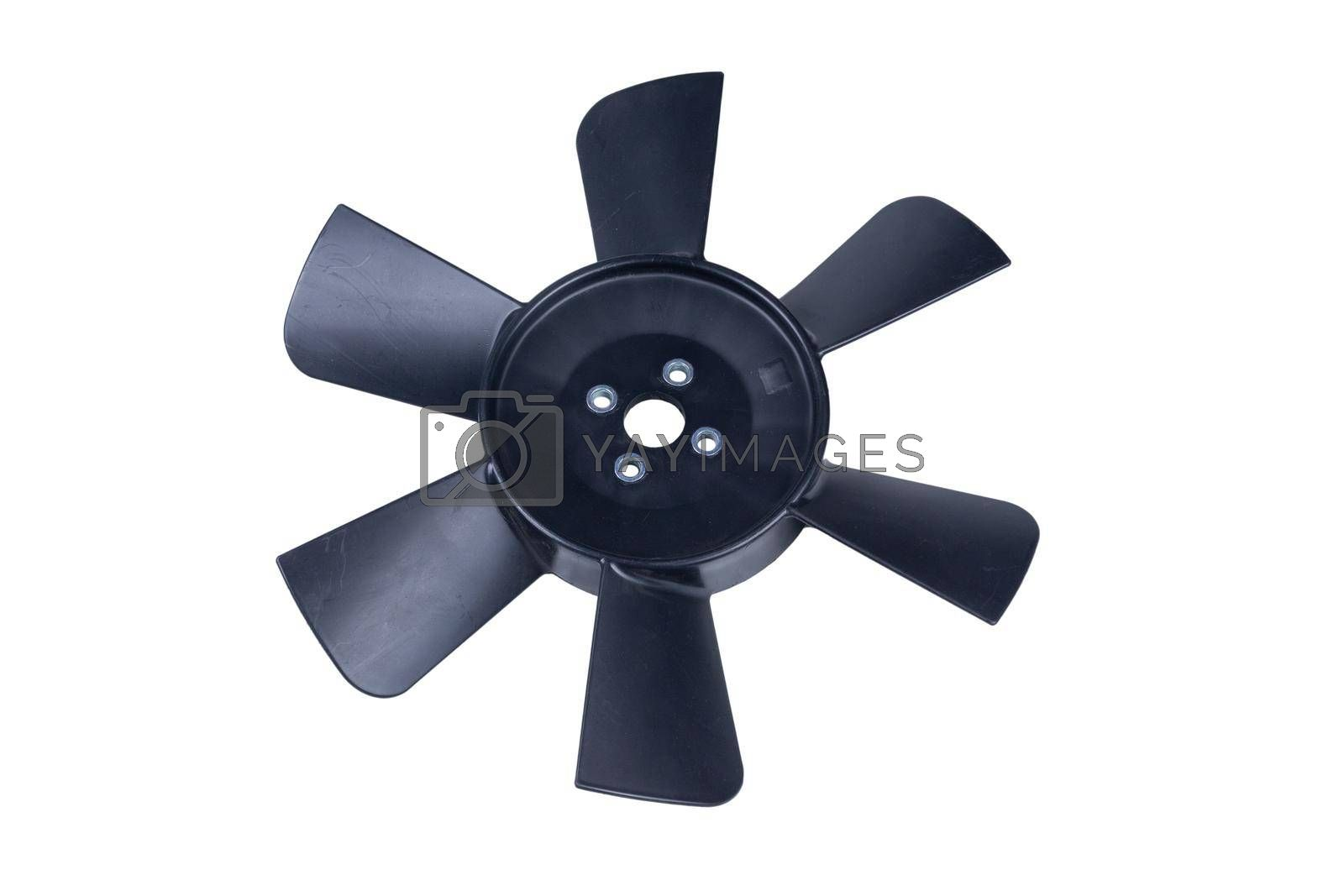 Royalty free image of new plastic fan impeller of a radiator of the internal combustion engine, black color, isolated on white background by forester