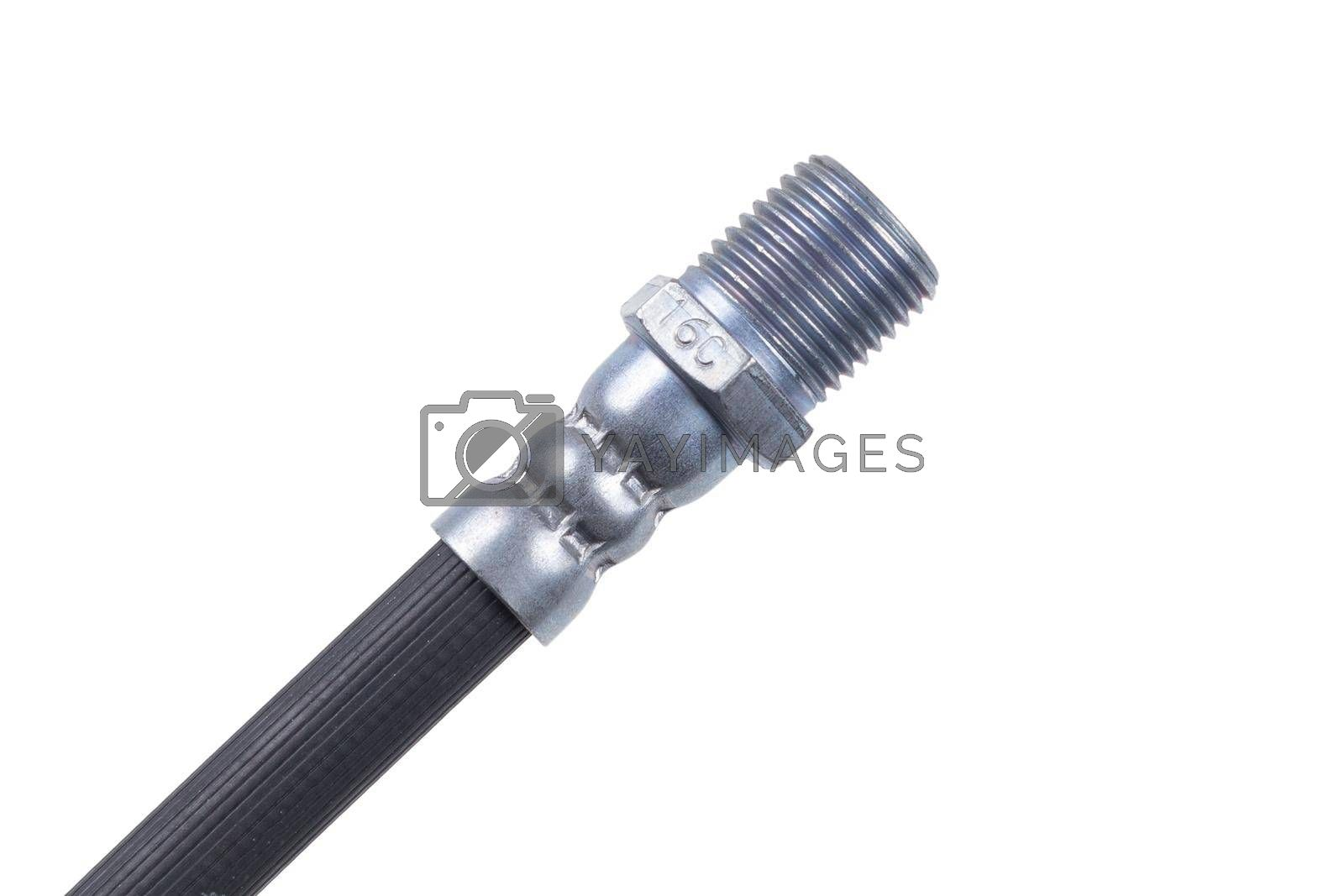 Brake hose for a car on a white background