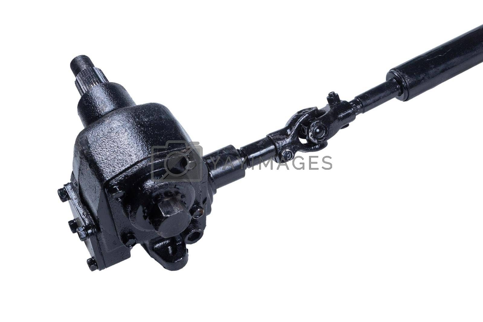Steering mechanism gear of the truck on an isolated white background.