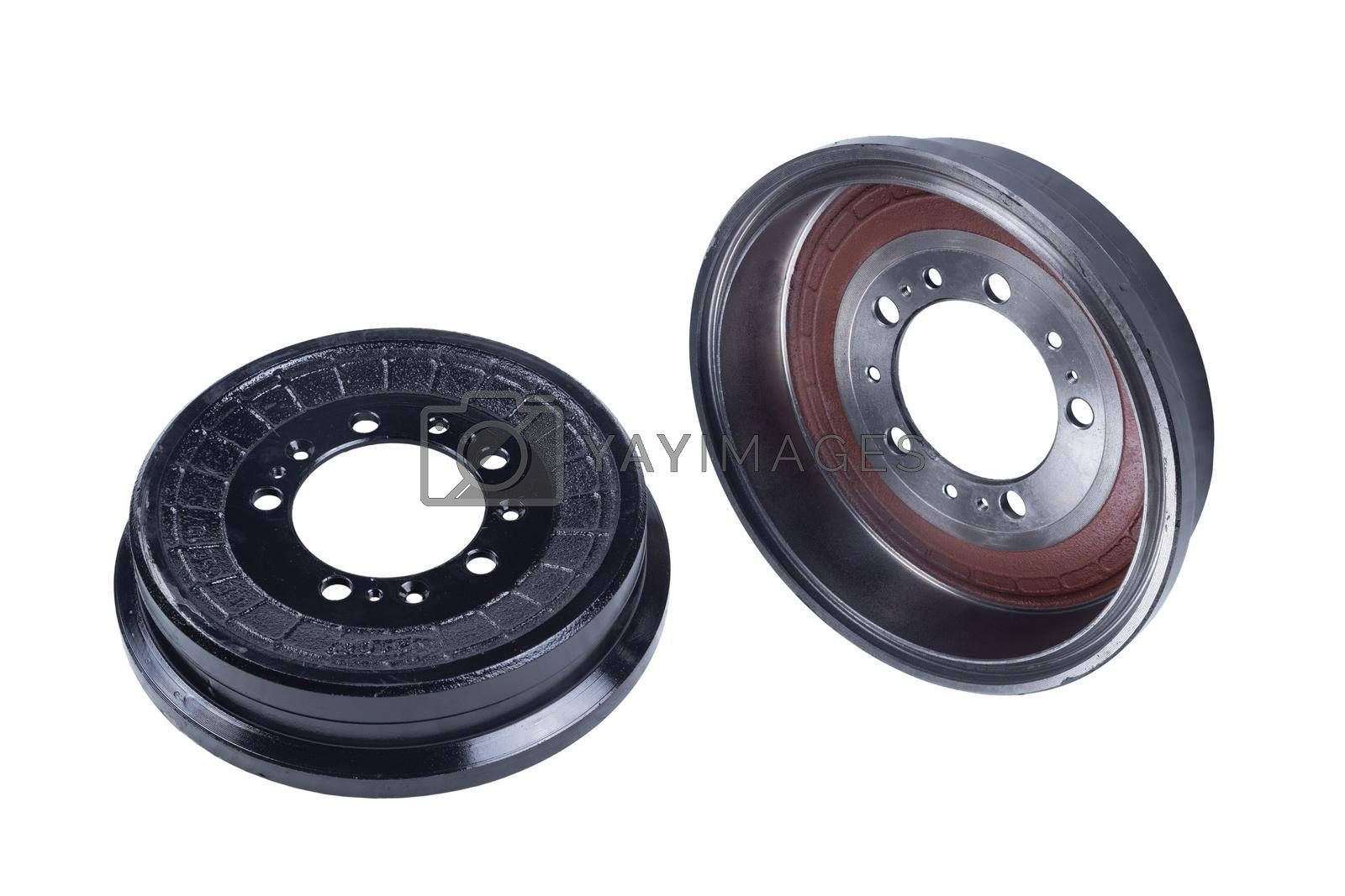 a set of new brake drums isolated on white background