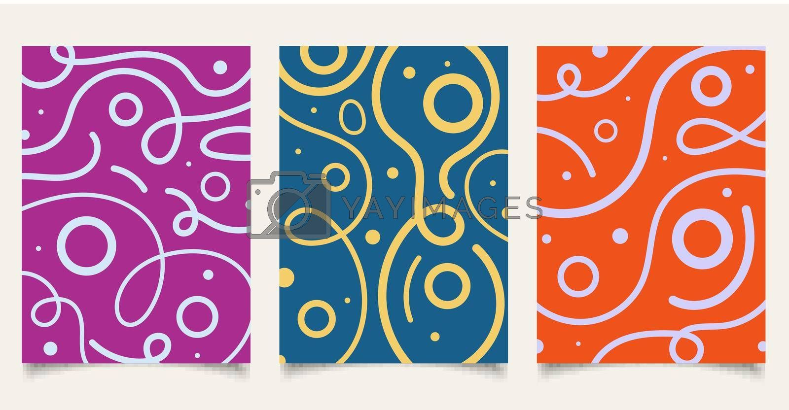 Set of cover brochure template wavy bold line pattern with circle on colorful background minimal design. Vector illustration