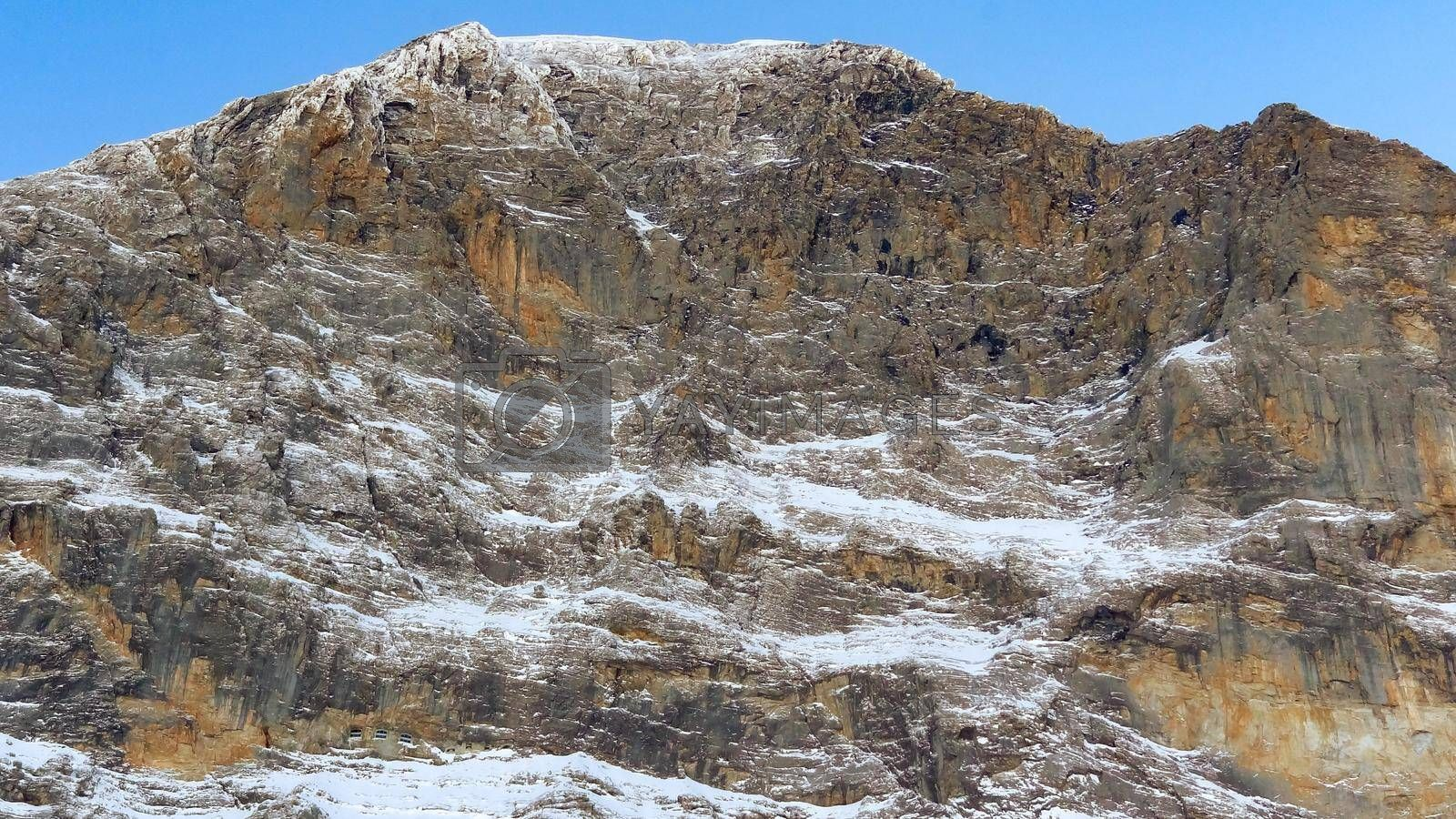 The North wall of Eiger peak in winter with a clear blue sky. Grindelwald Switzerland