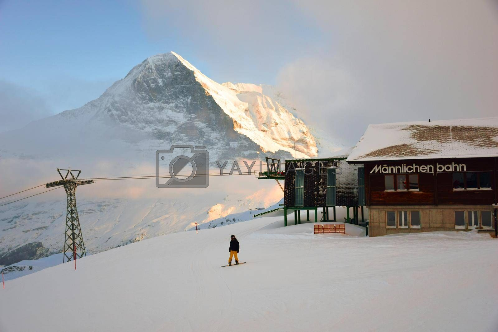 view of the Mannlichen cable car station North slope of the Eiger in winter, Grindelwald, Bernese Oberland, Switzerland