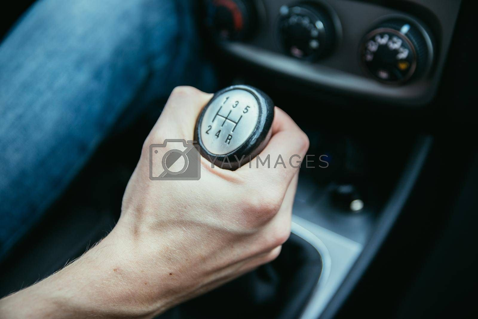 Close up of a shift lever, sports car
