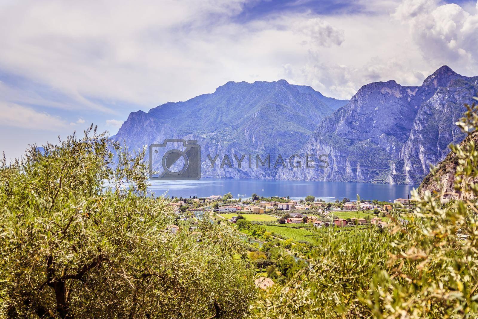 Mountains, nature and little village. Lake garda.