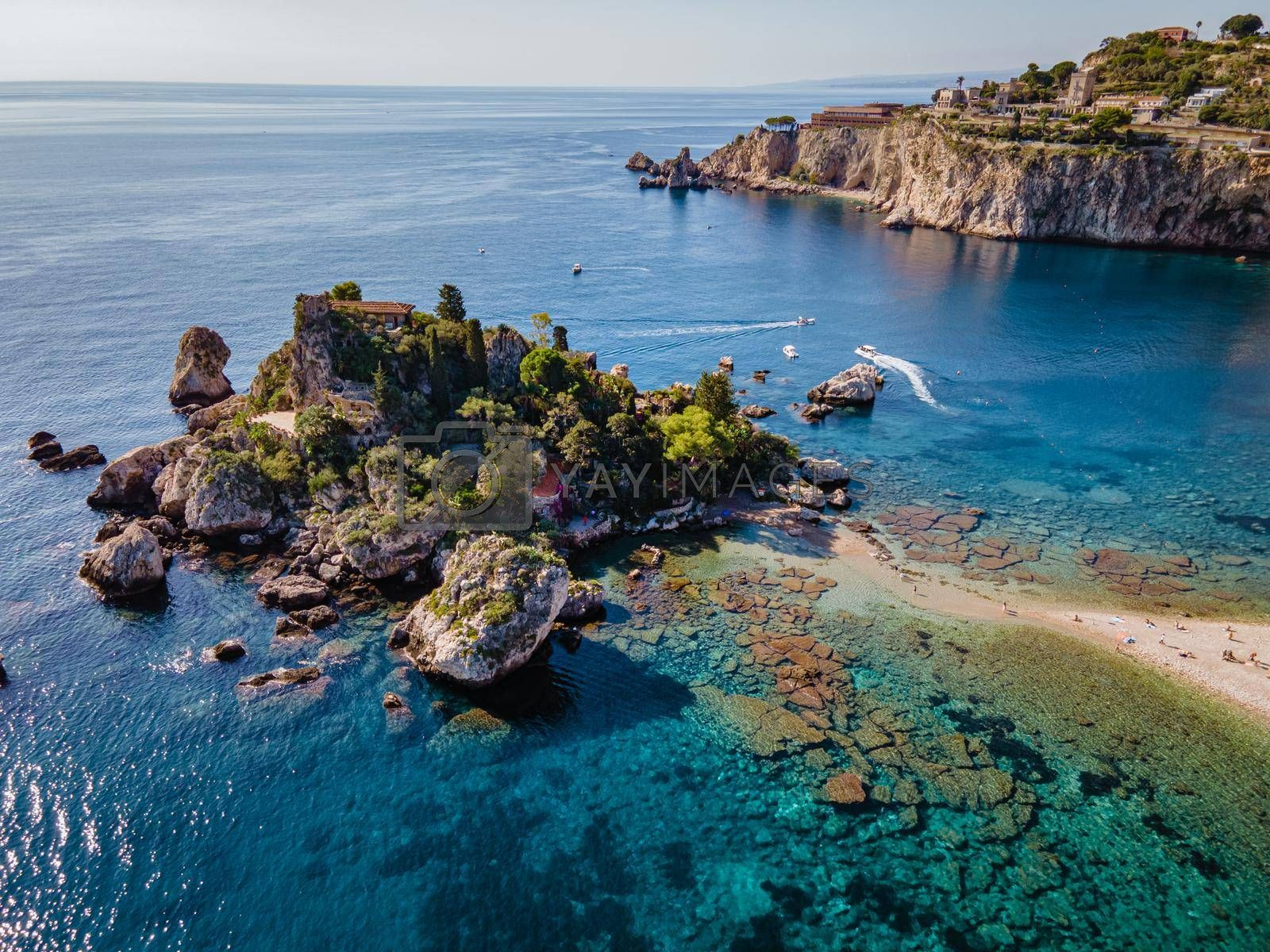 Isola Bella at Taormina, Sicily, Aerial view of the island and Isola Bella beach and blue ocean water in Taormina, Sicily, Italy Europe