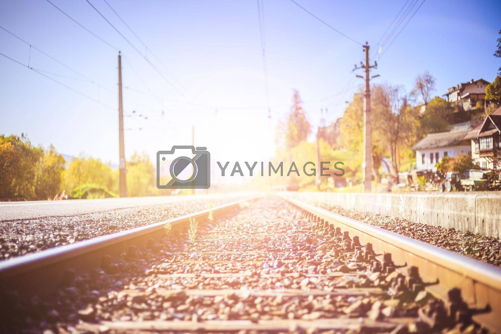 Landscape of an old abandoned railway in fall. Warm light, sustainable traveling