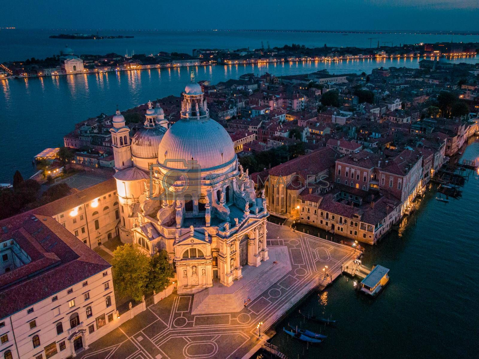 Venice from above with drone, Aerial drone photo of iconic and unique Saint Mark's square or Piazza San Marco featuring Doge's Palace, Basilica and Campanile, Venice, Italy. Europe