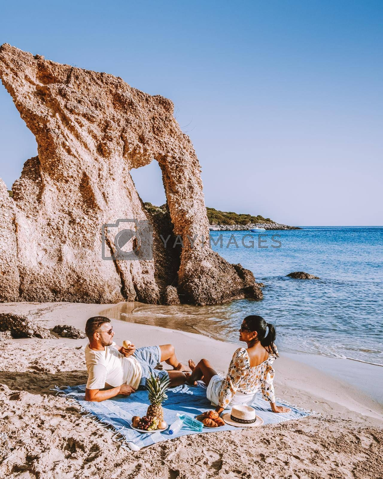 Royalty free image of couple men and woman mid age on vacation at the Greek Island Crete by fokkebok