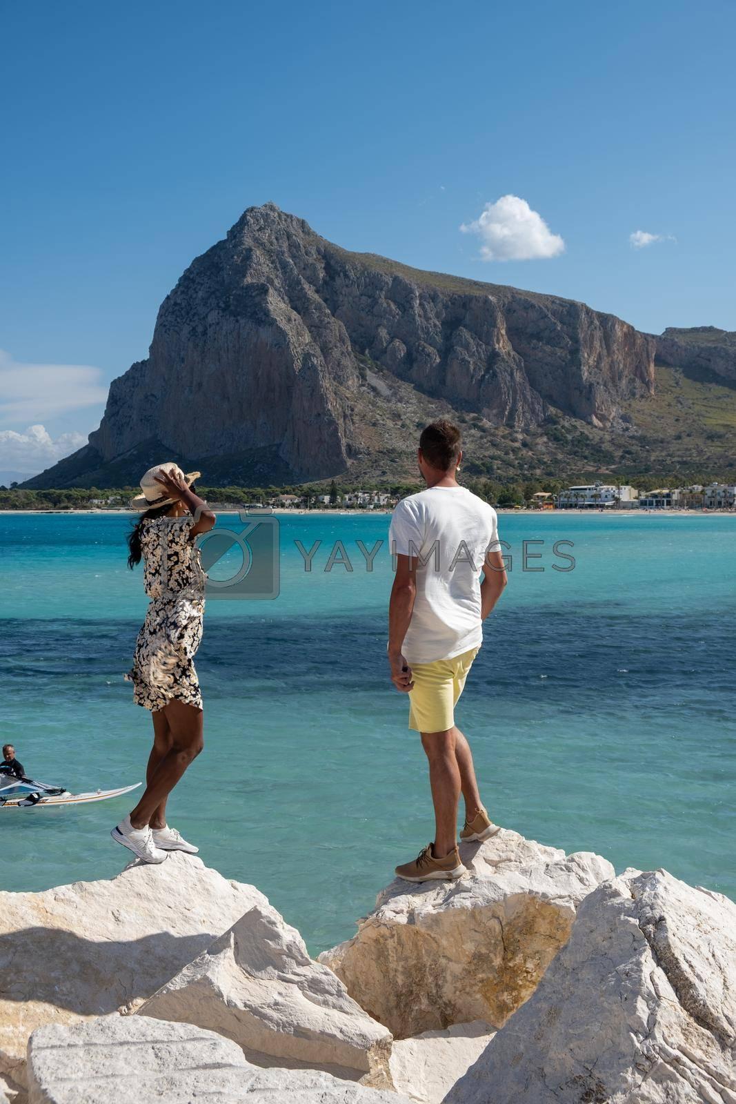 San Vito Lo Capo Sicily, San Vito lo Capo beach and Monte Monaco in background, north-western Sicily. High quality photo