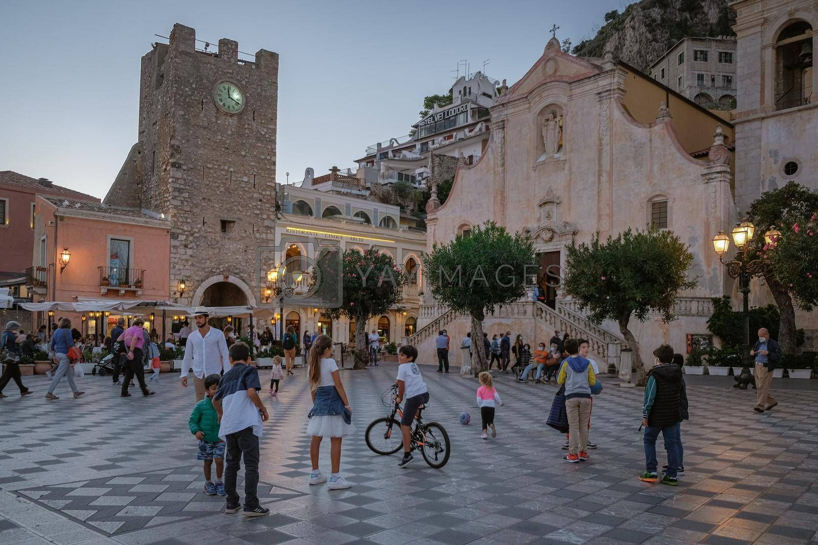 Taormina Sicily Italy October 2020, people on the streets using face mask during the pandemic Corona Covid 19 virus outbreak.