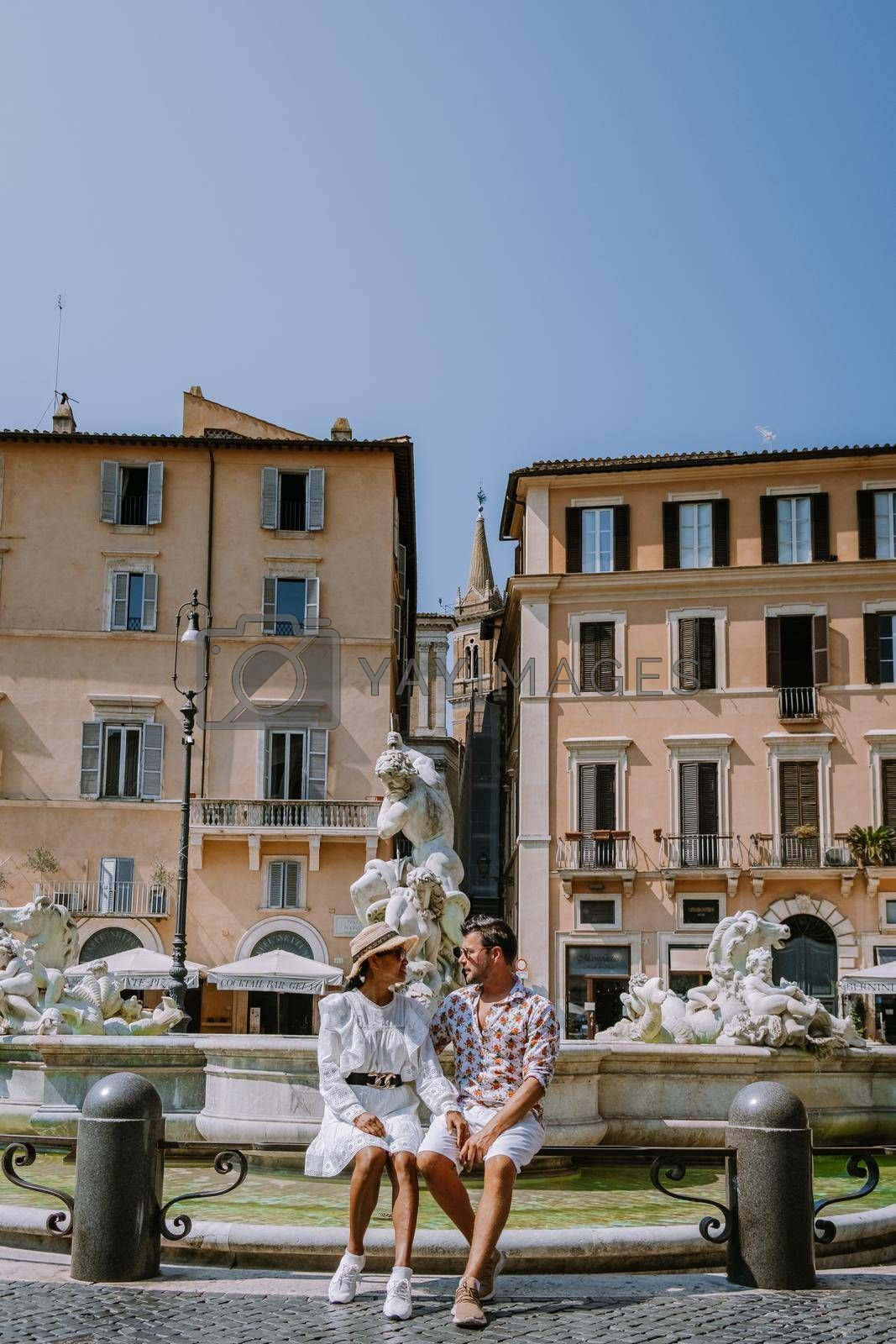 Piazza Navona in Rome, Italy Europe in the morning, couple on city trip Rome