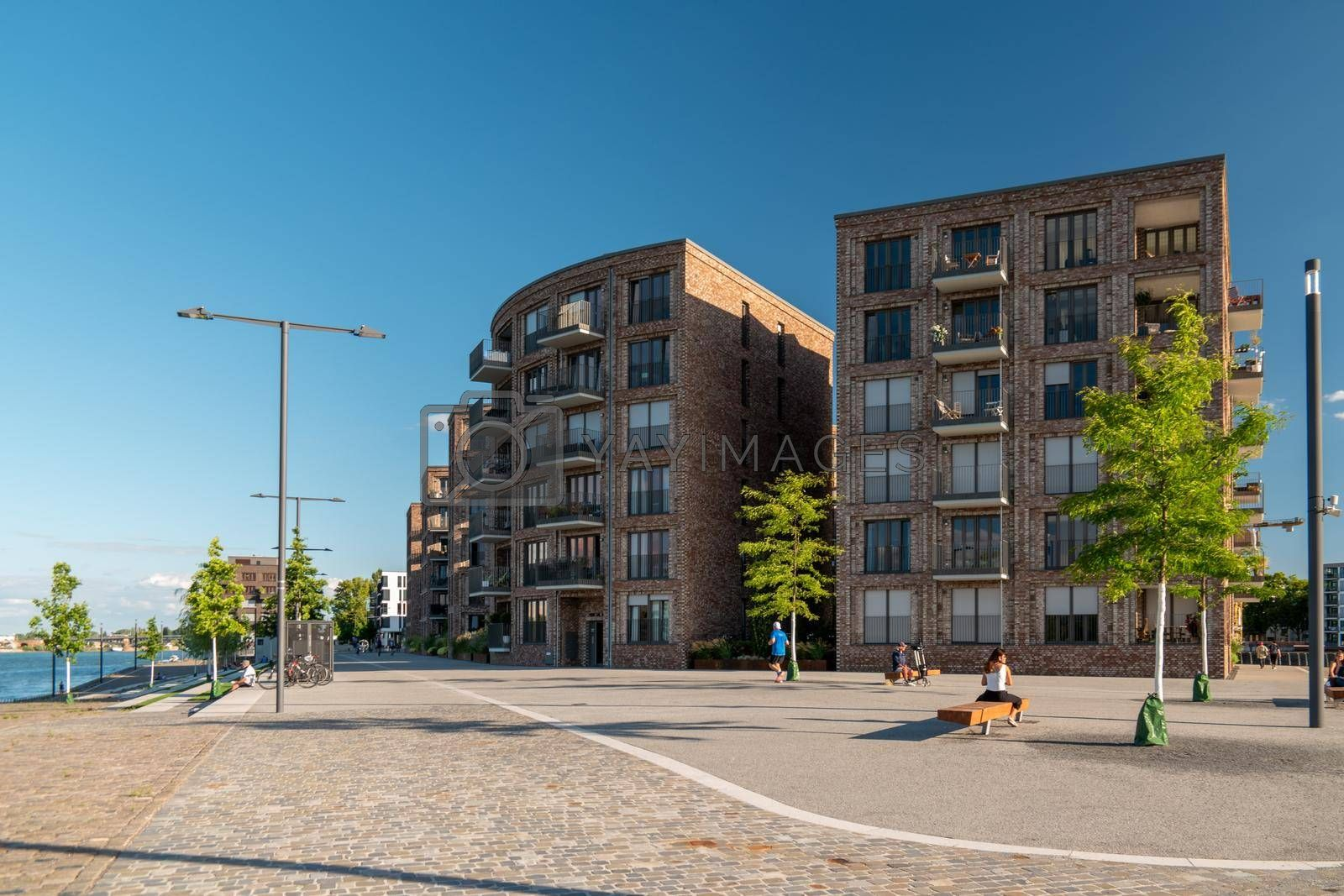 Mainz, Rheinland-PfalzGermany August 2020 , New just built structures apartment condo at port on river Rhein in Mainz by the rhine river. Europe