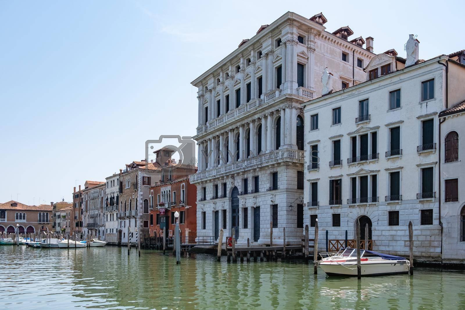Beautiful venetian street in summer day, Italy. Venice Europe