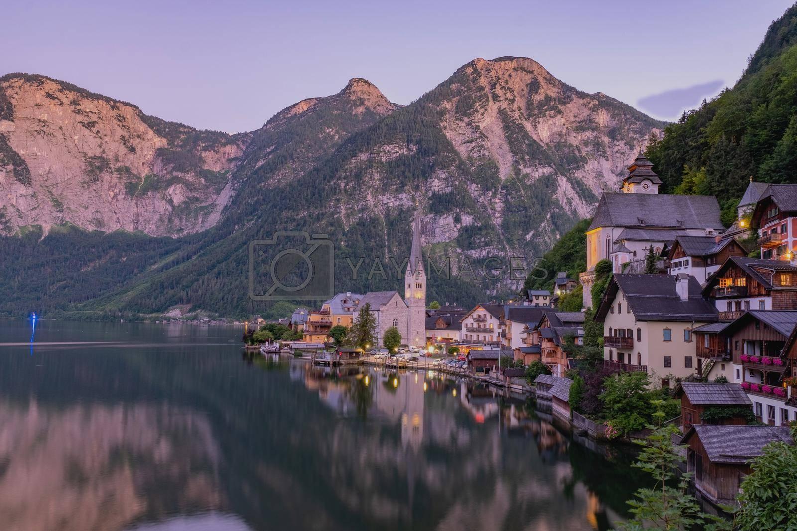 Hallstatt village on Hallstatter lake in Austrian Alps Austria Europe