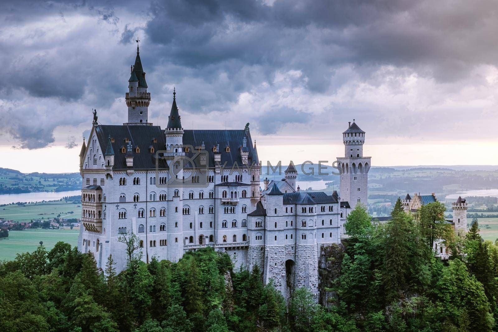 Beautiful view of world-famous Neuschwanstein Castle, the nineteenth-century Romanesque Revival palace built for King Ludwig II on a rugged cliff near Fussen, southwest Bavaria, Germany. Europe