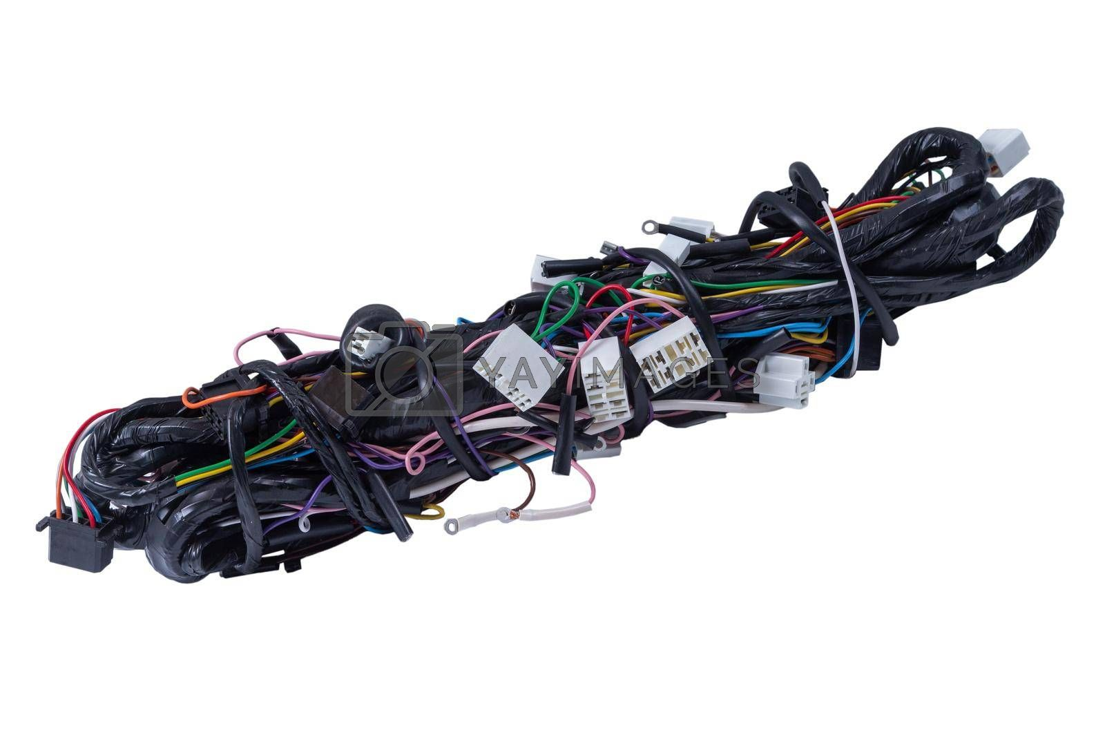 the wiring of the car, isolated on white background