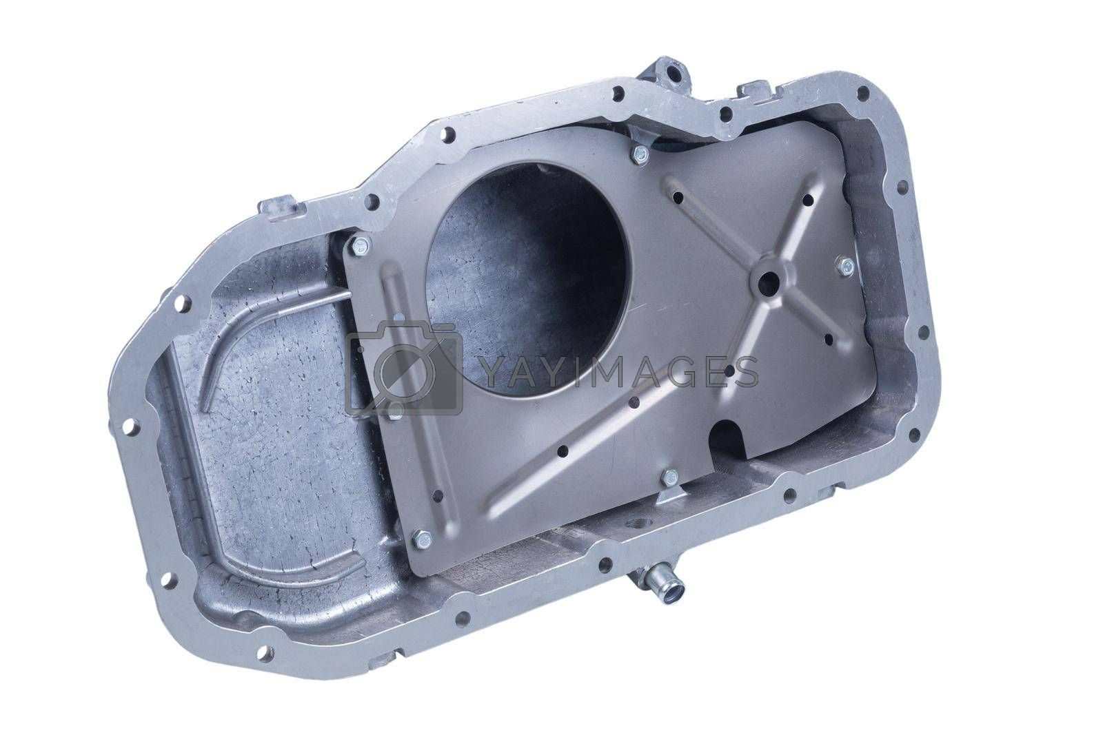 new aluminum car engine oil pan on white background