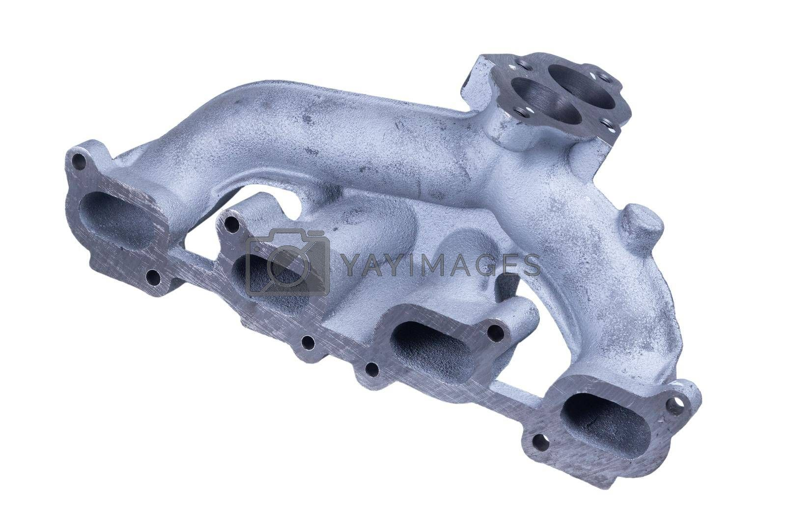 new car engine intake side receiver isolated on white background