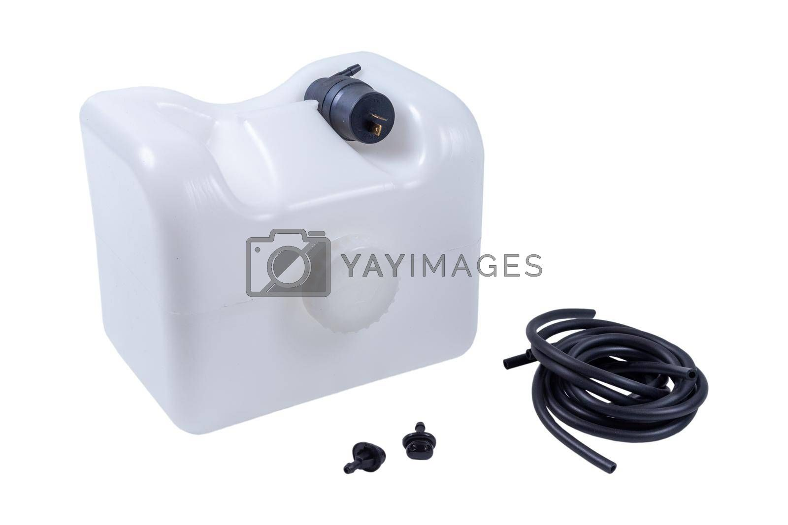 windshield washer tank with hose and nozzles for installation on the car