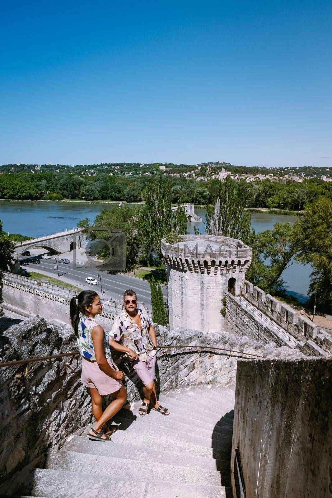 couple city trip Avignon Southern France, Ancient Popes Palace, Saint-Benezet, Avignon, Provence, France Europe