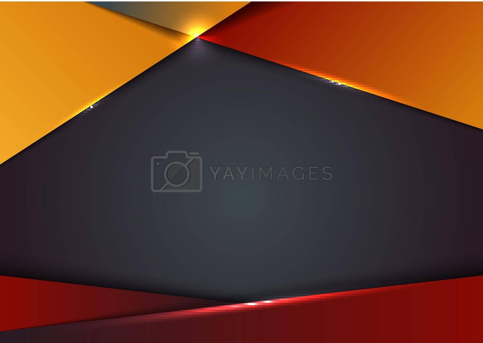 Template design abstract red and yellow gradient geometric shape luxury premium on blue background with lighting effect. Vector illustration