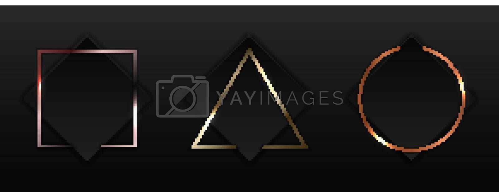 Set of black square with geometric border gold, pink gold, copper metallic frame badge on dark background luxury style. Vector illustration