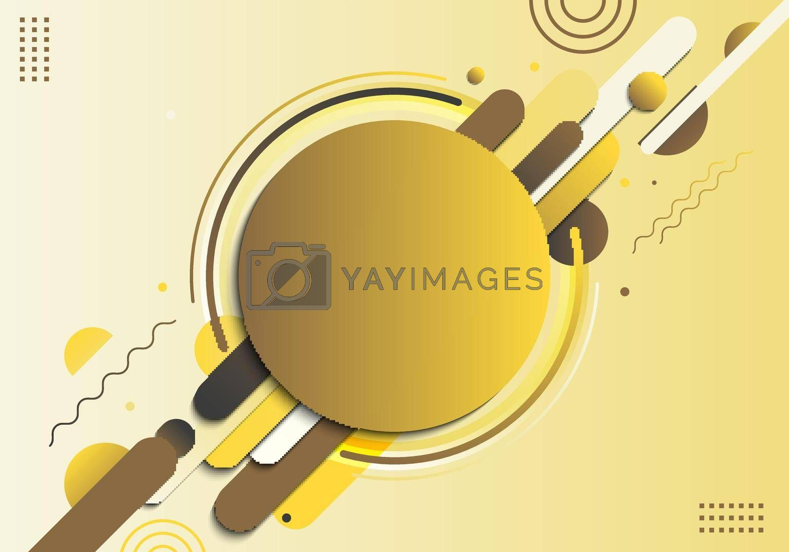 Abstract yellow geometric circle pattern composition rounded line shapes diagonal transition background. You can use for cover, poster, template, decorated, brochure, flyer. Vector