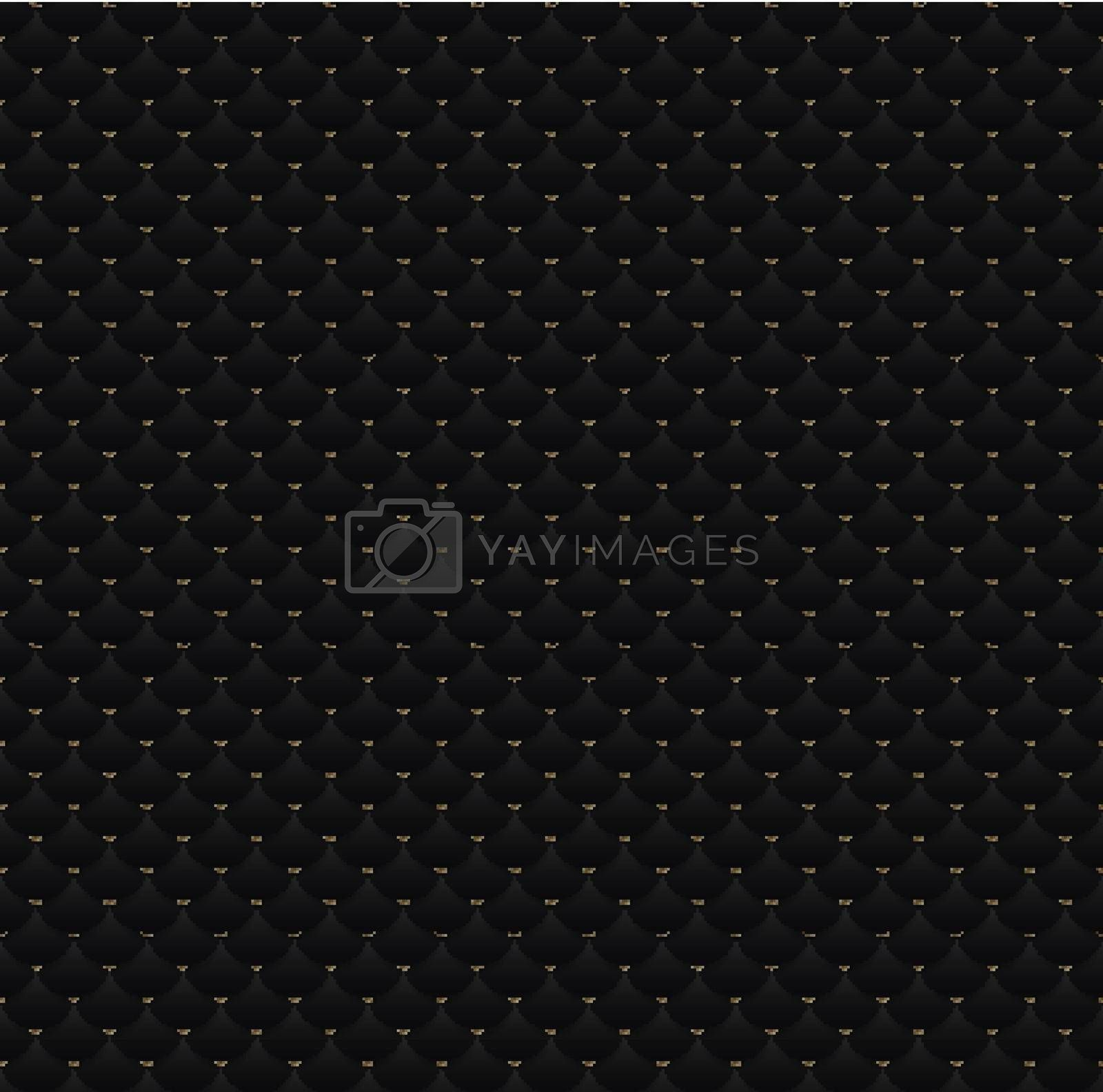 Elegant seamless pattern black circles with gold dots on dark background texture. Luxury premium template for Invitation card, banner, poster, flyer, leaflet, brochure, etc. Vector illustration